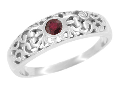 Art Deco Filigree Sterling Silver Ruby Ring