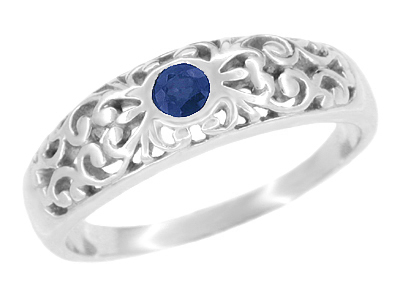Art Deco Filigree Natural Blue Sapphire Ring in Sterling Silver
