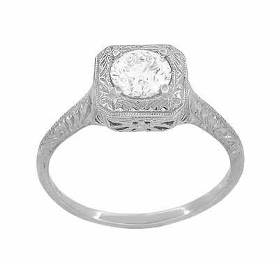 Filigree Scrolls 1/2 Carat Diamond Engraved Engagement Ring in 14K White Gold | EGL Certified - Item R183W75D - Image 1