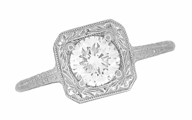 Filigree Scrolls 1/2 Carat Diamond Engraved Engagement Ring in 14K White Gold | EGL Certified - Item R183W75D - Image 3