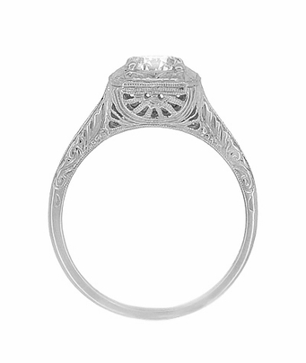 Filigree Scrolls 1/2 Carat Diamond Engraved Engagement Ring in 14K White Gold | EGL Certified - Item R183W75D - Image 4