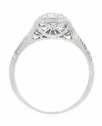 Filigree Scrolls 1/3 Carat Art Deco Engraved Diamond Engagement Ring in 14 Karat White Gold - Item R183W50D - Image 1