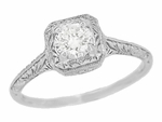 Filigree Scrolls 1/4 Carat Diamond Engraved Art Deco Engagement Ring in 14 Karat White Gold
