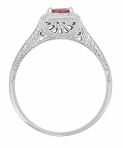 Filigree Scrolls Art Deco Engraved Rhodolite Garnet Engagement Ring in 14 Karat White Gold - Item R182W - Image 1