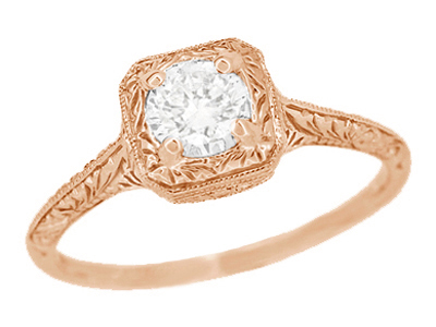 Filigree Scrolls Engraved 1/3 Carat Diamond Engagement Ring in 14 Karat Rose Gold
