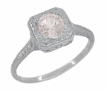 Filigree Scrolls Engraved Morganite Engagement Ring in 14 Karat White Gold
