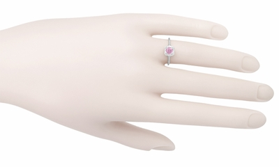 Filigree Scrolls Engraved Pink Sapphire Engagement Ring in 14 Karat White Gold - Item R183WPS - Image 3