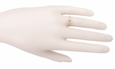 Filigree Scrolls Engraved Pink Sapphire Engagement Ring in 14 Karat Yellow Gold - Item R183YPS - Image 3