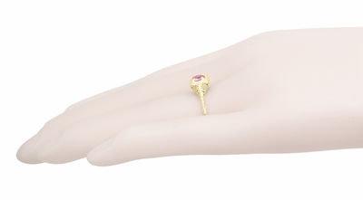 Filigree Scrolls Engraved Pink Sapphire Engagement Ring in 14 Karat Yellow Gold - Item R183YPS - Image 4