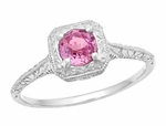 Filigree Scrolls Engraved Platinum Pink Sapphire Art Deco Engagement Ring