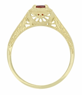 Filigree Scrolls Engraved Ruby Engagement  Ring in 14 Karat Yellow Gold - Item R183YR - Image 1