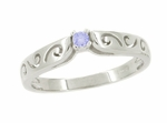 Filigree Scrolls Tanzanite Ring in 14 Karat White Gold
