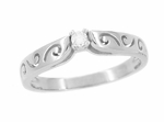 Filigree Scrolls White Sapphire Engagement Ring in 14 Karat White Gold