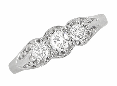 "Filigree ""Three Stone"" Diamond Art Deco Ring in 14 Karat White Gold - Item R890 - Image 3"