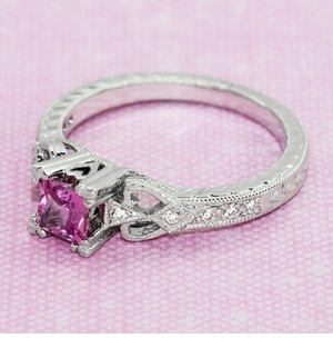 Loving Hearts Princess Cut Pink Sapphire Antique Style Engraved Engagement Ring in Platinum - Item R459PPS - Image 6