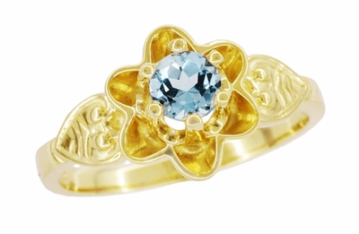 Flowers and Leaves Aquamarine March Birthstone Engagement Ring in 14 Karat Yellow Gold - Item R373YA - Image 1
