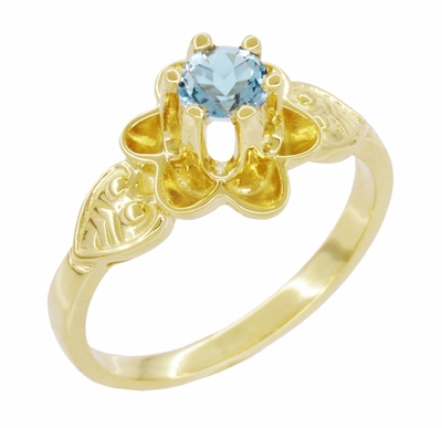 Flowers and Leaves Aquamarine March Birthstone Engagement Ring in 14 Karat Yellow Gold - Item R373YA - Image 2