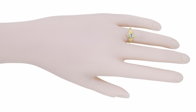 Flowers and Leaves Aquamarine March Birthstone Engagement Ring in 14 Karat Yellow Gold - Item R373YA - Image 6