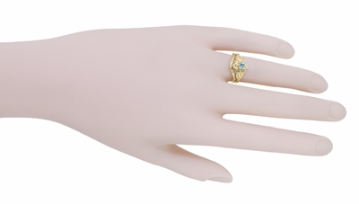 Flowers and Leaves Aquamarine March Birthstone Engagement Ring in 14 Karat Yellow Gold - Item R373YA - Image 7