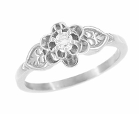 Flowers and Leaves Diamond Engagement Ring in 14 Karat White Gold