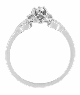 Flowers and Leaves Diamond Engagement Ring in 14 Karat White Gold - Item R373 - Image 1