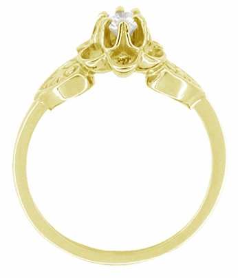 Flowers and Leaves Diamond Promise Ring in 14 Karat Yellow Gold - Item R373Y - Image 1