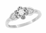 Flowers and Leaves Diamond Promise Ring in 14 Karat White Gold