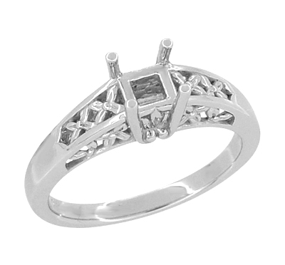 14K White Gold Art Nouveau Flowers and Leaves Filigree Engagement Ring Setting for a 1 Carat Princess, Radiant, or Asscher Cut Diamond