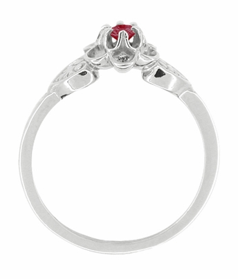 Flowers and Leaves Ruby Promise Ring in 14 Karat White Gold - Item R373RU - Image 1