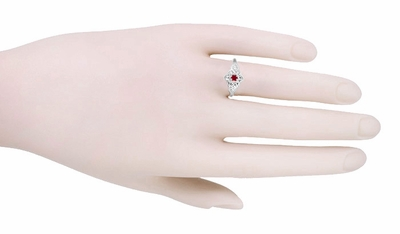 Flowers and Leaves Ruby Promise Ring in 14 Karat White Gold - Item R373RU - Image 2