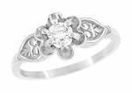 Flowers and Leaves White Sapphire Engagement Ring in 14 Karat White Gold