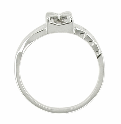 Flowing Vintage Retro Moderne Diamond Ring in 14 Karat White Gold - Illusion Setting - Item R427 - Image 1