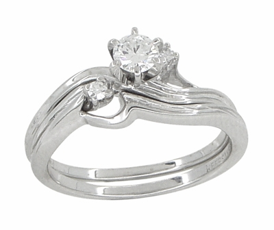 Flowing Waves Diamond Vintage Wedding and Engagement Ring Set in 14 Karat White Gold - Item R781 - Image 3