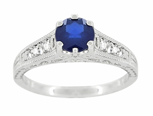 Art Deco Blue Sapphire and Diamonds Filigree Engagement Ring in 14 Karat White Gold - Item R158 - Image 4