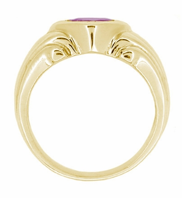 Geometric Art Deco Men's Amethyst Ring in 14 Karat Yellow Gold - Item MR121Y - Image 1