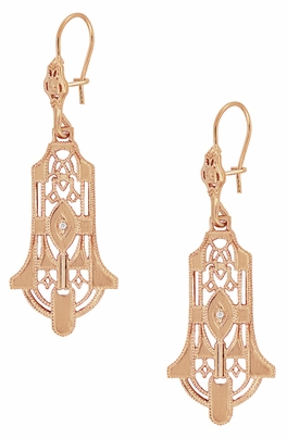Geometric Dangling Art Deco Rose Gold Vermeil Sterling Silver Filigree Diamond Earrings - Item E173RD - Image 1