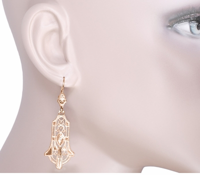 Geometric Dangling Art Deco Rose Gold Vermeil Sterling Silver Filigree Diamond Earrings - Item E173RD - Image 3