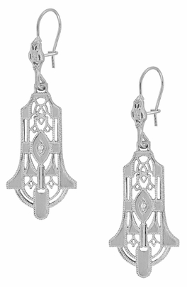 Geometric Diamond Dangling Sterling Silver Filigree Art Deco Earrings - Item E173WD - Image 1