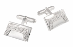 Retro High Society Geometric Rectangular Sterling Silver Cufflinks with Cubic Zirconia ( CZ ) Gemstones