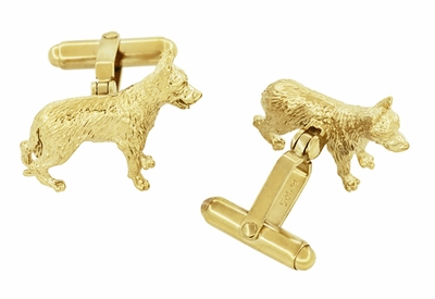 German Shepherd Cufflinks in Sterling Silver with Yellow Gold Finish - Item SCL231Y - Image 1