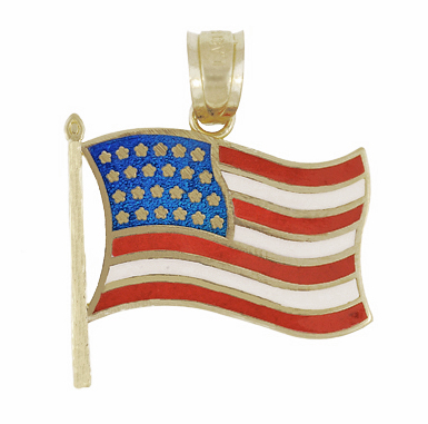 "American Flag Charm in 14K Gold - Enamel Pendant - ""God Bless America"""