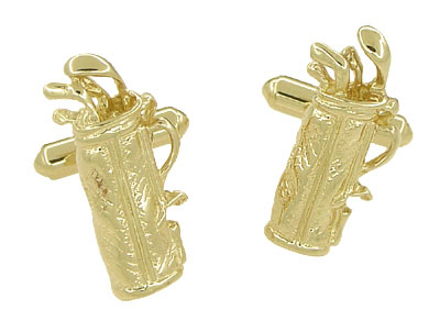 Gold Golf Bag Cufflinks in 14 Karat Yellow Gold | Solid Gold Golfer Cufflinks