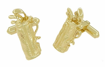 Gold Golf Bag Cufflinks in 14 Karat Yellow Gold | Solid Gold Golfer Cufflinks - Item GCL152 - Image 1