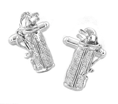 Golf Bag Cufflinks in Sterling Silver