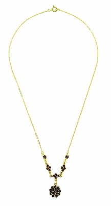 Gorgeous Victorian Bohemian Garnet Floral Drop Necklace in Sterling Silver with Yellow Gold Vermeil - Item N111 - Image 1