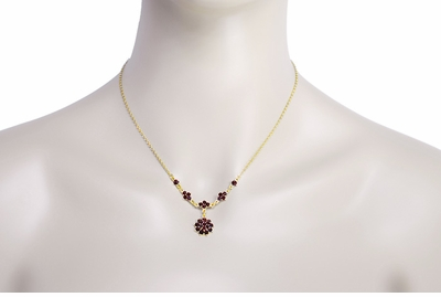 Gorgeous Victorian Bohemian Garnet Floral Drop Necklace in Sterling Silver with Yellow Gold Vermeil - Item N111 - Image 2