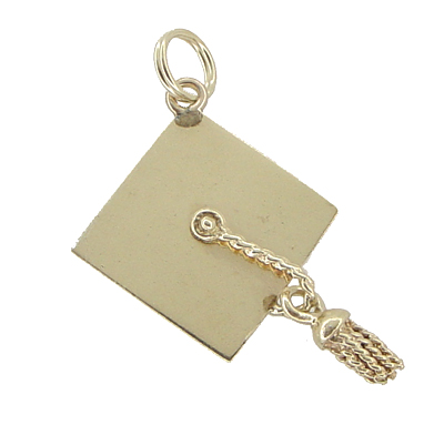 Graduation Cap Pendant Estate Charm with Movable Tassel in 14 Karat Gold