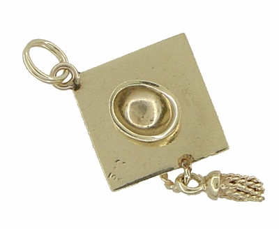 Graduation Cap Pendant Estate Charm with Movable Tassel in 14 Karat Gold - Item C515 - Image 1