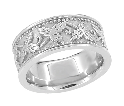 Grapes and Grape Leaves Heavy Wide Wedding Band in 14 Karat White Gold | 8mm | Ring Size 6