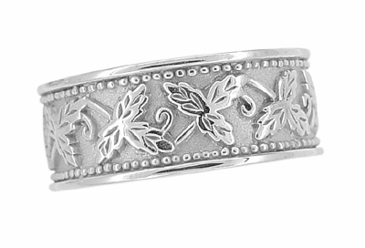 Grapes and Grape Leaves Heavy Wide Wedding Band in 14 Karat White Gold | 8mm | Ring Size 6 - Item R806 - Image 2